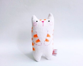 Small cute cat art doll desk toy decor stuffed tabby cat kitten orange stripe white cat gift for cat lovers