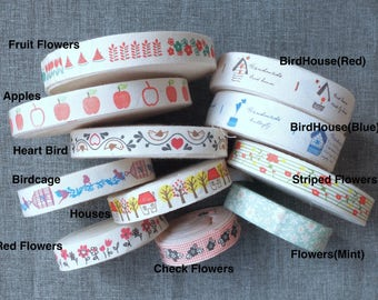 2 Yards Sewing Tape/Ribbon - Shabby Chic Spring Color Apple Fruit Bird Birdcage House Woods Floral Flowers Collection(Choose Pattern)