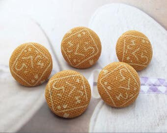 Japanese Zen Yellow Traditional Characters Pattern-Handmade Fabric Covered Buttons(0.75 Inches, 5PCS)
