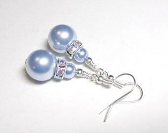 Blue Pearl Earrings, Swarovski Blue Crystal Pearls, Swarovski Pearl Earrings, Silver, Spiritcatdesigns, Jewelry Earrings
