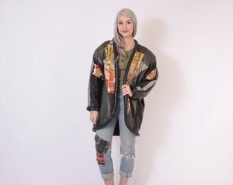 Vintage 80s LEATHER JACKET / 1980s Avant Garde Embroidered Kimono & Leather Oversized Coat