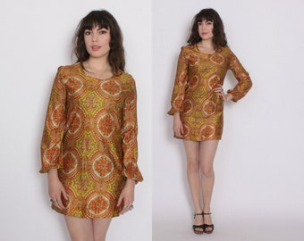 Vintage 60s Psychedelic DRESS / 1960s Silky Ethnic Print Mod Mini Dress S - M