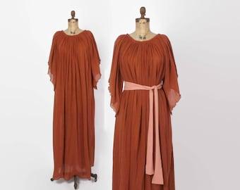 Vintage 70s CAFTAN DRESS / 1970s Rust Semi Sheer Angel Sleeve Gauze Loose Fit Maxi Dress