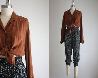 terra cotta silk blouse