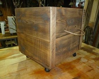 RECLAIMED RUSTIC WOOD Rolling Crate - Hand Crafted in Michigan - Rope Handles/Casters