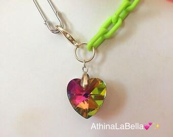 Rainbow Crystal Heart Choker, Neon Green Choker, Rainbow Heart Necklace, Boho Choker,