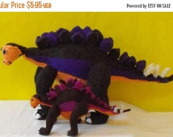 50% OFF SALE Instant Digital File PDF Download knitting pattern - Stegosaurus and Baby Dinosaur Toy pdf download knitting pattern