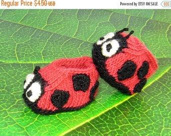 50% OFF SALE Digital pdf file knitting pattern - Baby Ladybird (Ladybug) Booties  knitting pattern pdf download by madmonkeyknits