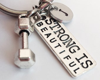 Strong Is Beautiful Keychain. Fitness Keychain. Dumbbell keychain. Weight lifting Fitness Girl Crossfit Keychain. Personal Trainer. Fitness.