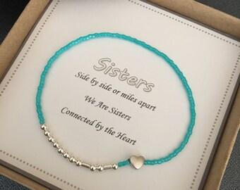 Sister bracelet,Morse code ,Beaded bracelet,Bracelet for her,Women's bracelet, Jewelry,Birthday gift, Sister gift,women's gift ,Minimalist
