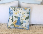 1:12 Pillow - Dusty Blue Floral  - Handmade Dollhouse Scale Miniature - Shabby Cottage **Free Shipping*