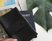Leather Passport Case and Card Holder - Noir