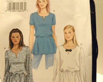 Vogue Blouse, Top pattern -   V9129 Size 6-14,  new uncut 2015, Very Easy Vogue