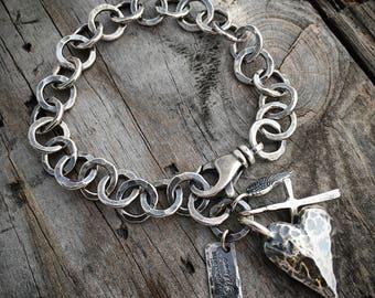 Sterling Silver Heart Bracelet Rustic Heart Bracelet Handmade By Joy Kruse Wild Prairie Silver Jewelry