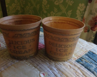 Pair of Vintage Ice Cream Tubs