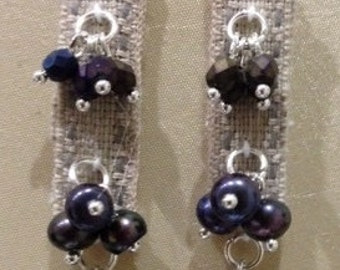 Fabric and pearl earrings.