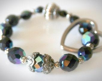 "Keychain Bracelet - ""Black Diamond"" Glass Beads with Heart Keyring. Handless Key Chain. Wristlet Keyring. Wrist Key Fob. Key Lanyard"