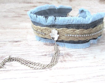 90s Style Choker - Womens Boho Choker - Denim Choker Necklace - Hamsa Choker Necklace - Boho Charm Choker - Choker Necklace - Boho Choker