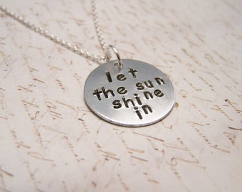 Let the Sun Shine In Necklace. Be Happy. Let it Shine. Open up Your Heart. Become your Greatest Version.