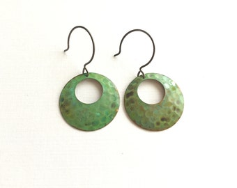 Verdigris Textured Open Circle Earrings