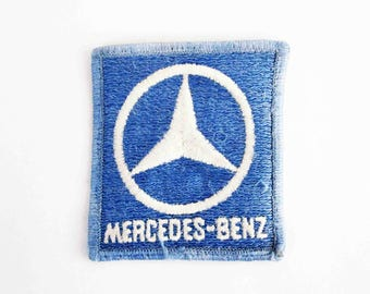 Vintage Mercedes-Benz Embroidered Patch in Blue and White. New Old Stock. Circa 1960's - 1970's.