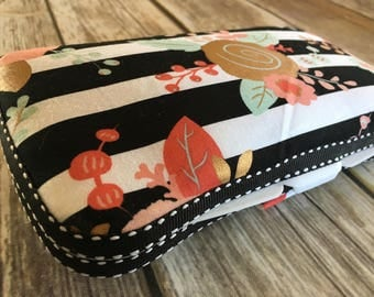 Travel Wipes Case with Diaper Strap | Mommy Clutch | Travel | Piper Floral Stripe