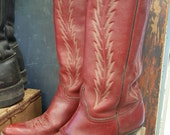 Vintage Woman's Abilene Rusty Red Leather Top Stitched Cowboy Boots Sz 8 From Rustysecrets