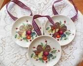 Three Lenox Holiday Tartan Pattern Round Coasters Upcycled Ornaments, Plaid / Tartan Ribbon Hangers, Fruit, Holly, Berries, Bow, Ornament