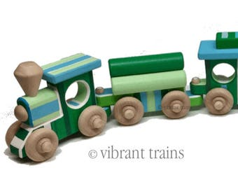 Green and Blue Painted Wooden Toy Train Hand Made and Hand Painted FIVE CARS. Ready to Ship today.