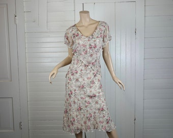 90s does 20s Silk Dress in Pink & Ivory Floral Print- 1990s Flapper- Flutter Sleeves