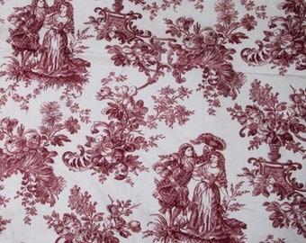 Vintage Toile Fabric One Yard Burgundy White Sandown and Bourne England Amore