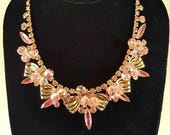 Juliana Necklace by D&E pink rhinestone Crystal B bead
