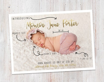 Birth Announcement : Baby Stats Introducing Monroe Baby Girl Custom Photo Birth Announcement - Baby Announcement - Photo Announcement