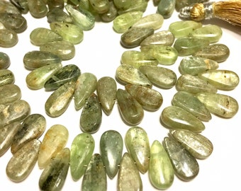 Green Kyanite top drilled smooth polished flat tear drops one dozen pieces