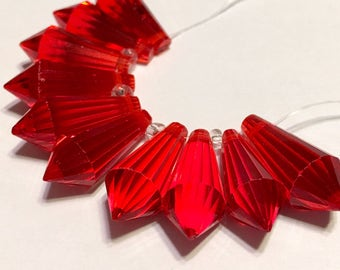 Cherry red Faceted Crystal drop briolettes top drilled 18mm