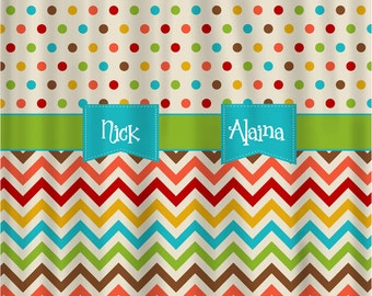 Custom Personalized Warm Confetti Dots and Chevron Shower Curtain - available in standard size and custom cut and sew