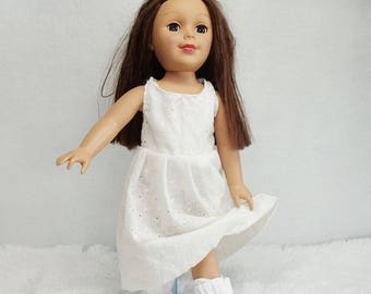 """18 inch Doll Dress, White cotton eyelet dress and booties, 18"""" doll's dress and slipper set, doll's long pleated dress"""