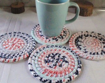 Contemporary Print Coiled Fabric Coasters - Navy Blue, Orange ,Peach, Set of 4 for Kitchen, Absorbent Coasters, Handmade by Me