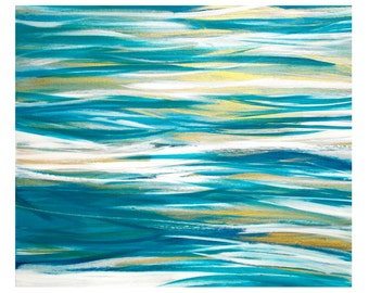 SALE Original Abstract Seascape Acrylic Painting 20x24 Canvas Wall Art - Tropical Beach Home Decor - turquoise teal white gold, ocean water