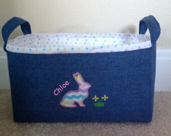 Personalized Easter basket, fabric storage bin or basket. Childs gift basket. Boy or girl  basket. Denim basket with bunny.