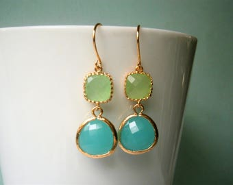 Peridot Earrings, Mint Aqua Earrings, Wife Gift, Gold Earring, Mom, Sister, Bridesmaid, Holiday Gift