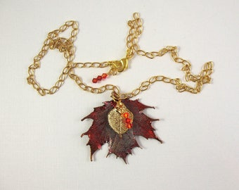 Preserved Canadian Maple and Aspen Leaves Necklace