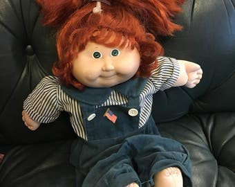 1986 Xaviar Cabbage Patch Doll red nylon hair withclothes