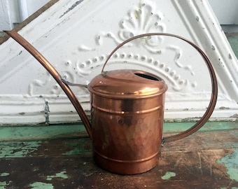 Vintage Hammered Copper Metal Watering Can Garden Decor