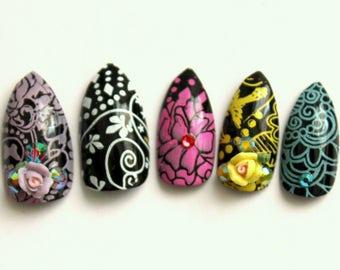 Black and Pastel Flourish Stiletto Nails   Press On Stiletto Nails   3D Nails   Glue On Acrylic Nails   Black Pastel Fake Nail