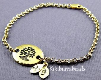 Family Tree Bracelet, Personalized Bracelet, Tree Of Life Bracelet, Initial Bracelet