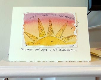 "Here Comes The Sun  Watercolor Original Strathmore Card 5"""" x 6 7/8"" & Envelope Card Blank  betrueoriginals"