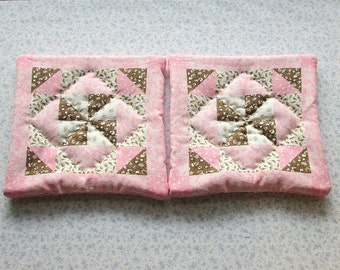 pink and brown hand quilted set of 2 potholders hot pads