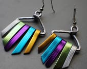 Rainbow Silver Tone Anodized Aluminum Xena Warrior Bold Goddess Tribal Tassel Wind Chime Earrings