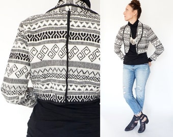 vintage SOUTHWEST black + white CROPPED woven coat S